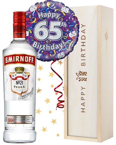 65th Birthday Vodka and Balloon Gift