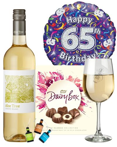 65th Birthday White Wine And Chocolates Gift