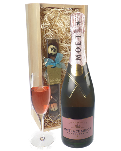 Moet Rose Champagne and Chocolates Gift Set