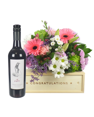 Red Wine And Flowers Congratulations Gift