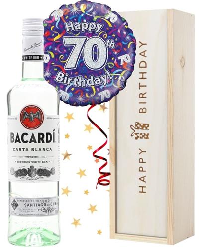 70th Birthday Bacardi Rum and Balloon Gift
