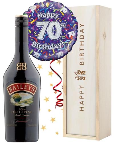 70th Birthday Baileys and Balloon Gift