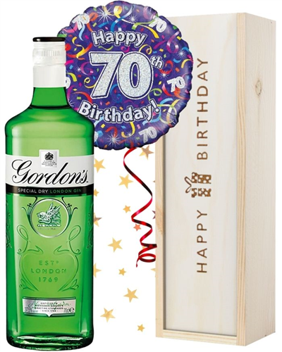 70th Birthday Gin and Balloon Gift