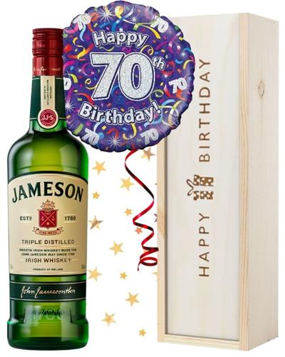 70th Birthday Irish Whiskey and Balloon Gift