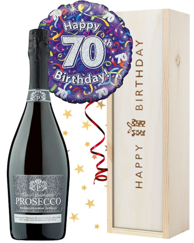 70th Birthday Prosecco and Balloon Gift