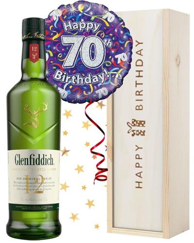 70th Birthday Single Malt Whisky and Balloon Gift