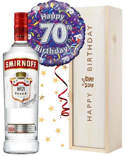 70th Birthday Vodka and Balloon Gift