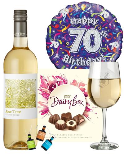 70th Birthday White Wine And Chocolates Gift