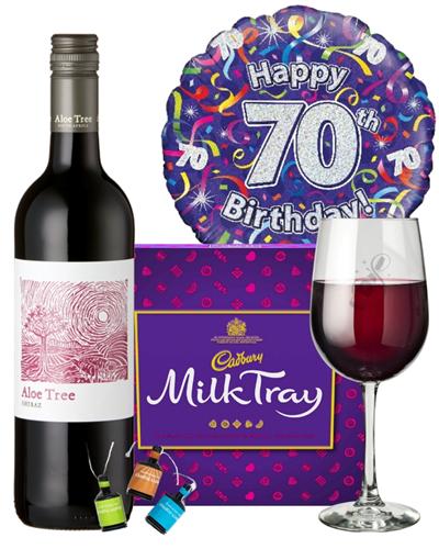 70th Birthday Wine Gift - Red Wine And Chocolates Gift Set