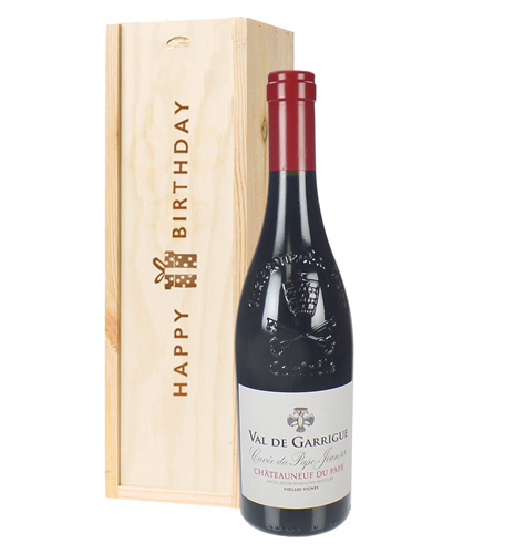 Chateauneuf Du Pape Red Wine Birthday Gift In Wooden Box