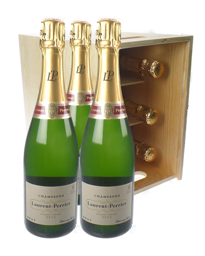 Laurent Perrier Champagne Six Bottle Wooden Crate