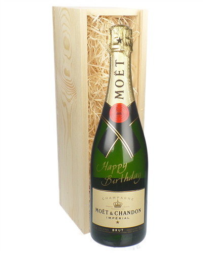 Happy Birthday Moet Champagne Gift in Wooden Box
