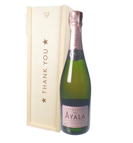 Ayala Rose Champagne Thank You Gift In Wooden Box