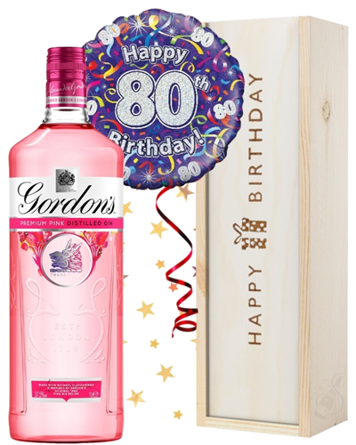 80th Birthday Pink Gin and Balloon Gift