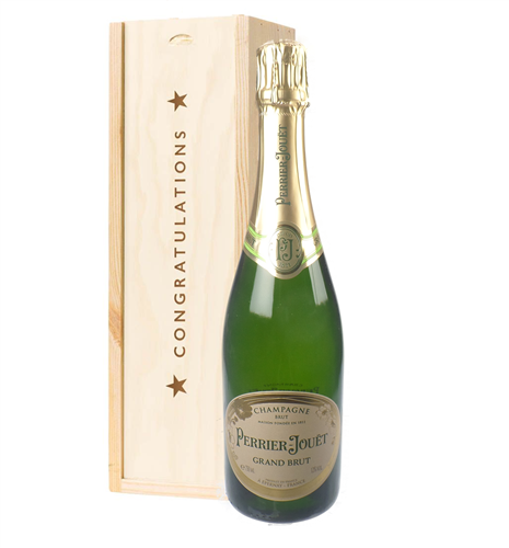 Perrier Jouet Champagne Congratulations Gift In Wooden Box