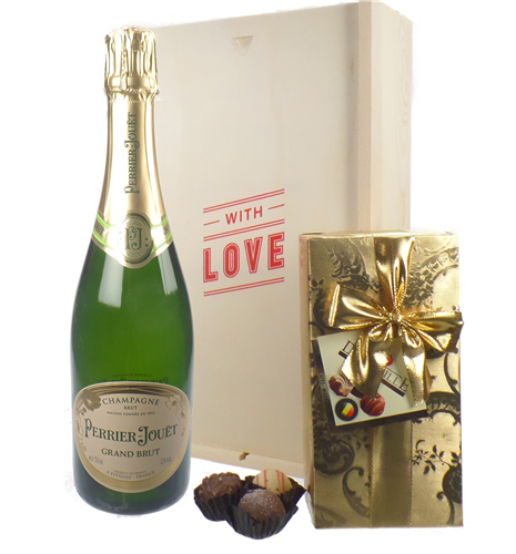 Perrier Jouet Valentines Champagne and Chocolates Gift Box