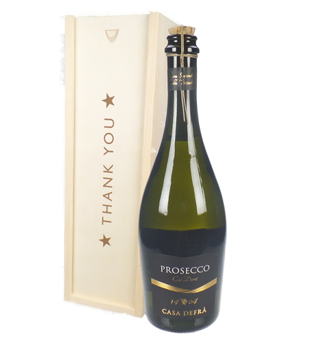 Prosecco Frizzante Thank You Gift In Wooden Box