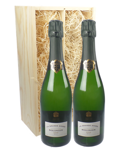 Bollinger Grande Annee Vintage Two Bottle Champagne Gift in Wooden Box