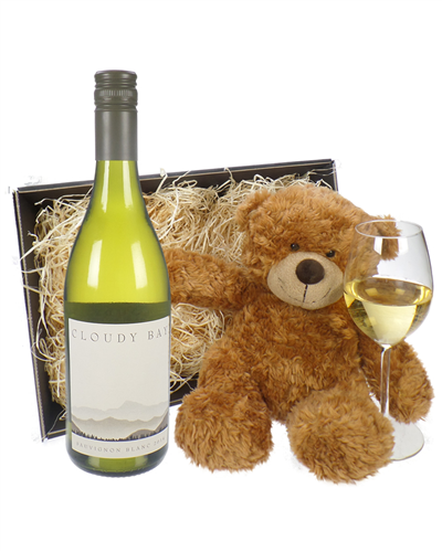Cloudy Bay Sauvignon Blanc Wine and Teddy Bear Gift Basket