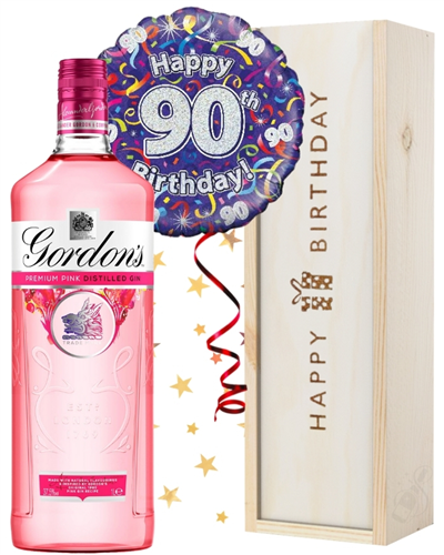 90th Birthday Pink Gin and Balloon Gift