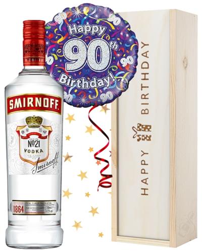 90th Birthday Vodka and Balloon Gift