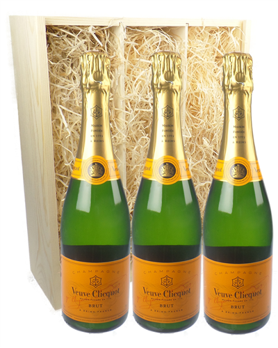 Veuve Clicquot Three Bottle Champagne Gift in Wooden Box