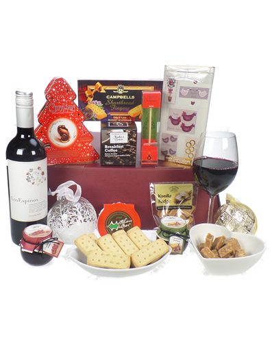 Christmas wine and treats gift basket next day delivery for Next day wine gifts