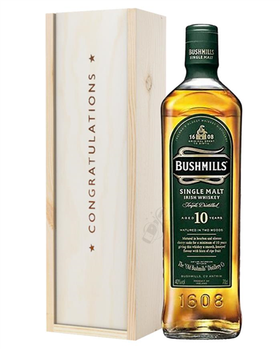 Bushmills 10 Single Malt Whiskey Congratulations Gift In Wooden Box