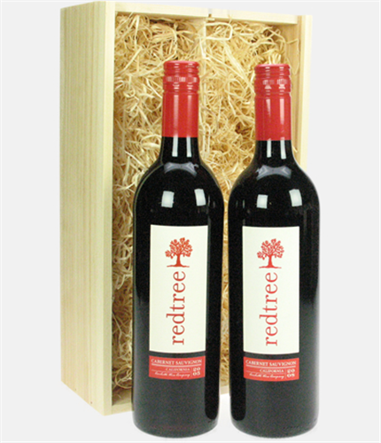 Red Tree Cabernet Sauvignon Two Bottle Wine Gift In Wooden Box