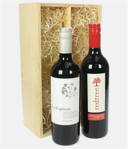 Cabernet sauvignon two bottle wine gift in wooden box for Next day wine gifts