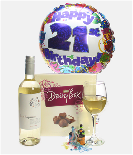 21st Birthday White Wine And Chocolates