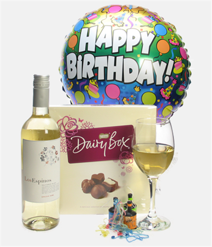 White Wine And Chocolates Birthday Gift Next Day Delivery