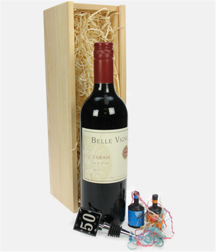 Red Wine And Bottle Stopper 50th Birthday Gift
