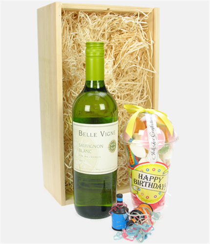 White wine and retro sweets birthday gift next day delivery for Next day wine gifts