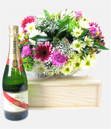Mumm Champagne And Flowers