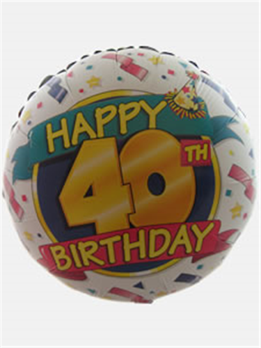 Happy 40th Birthday Helium Balloon Gift