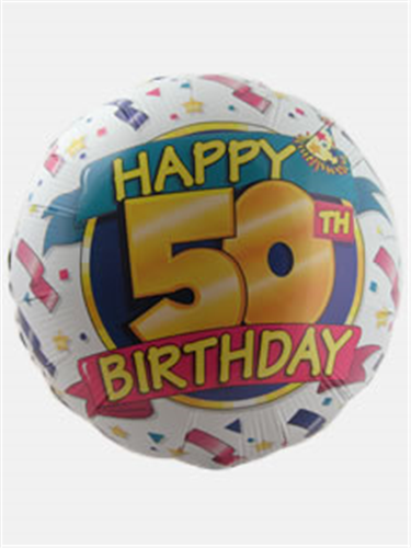 Happy 50th Birthday Helium Balloon Gift