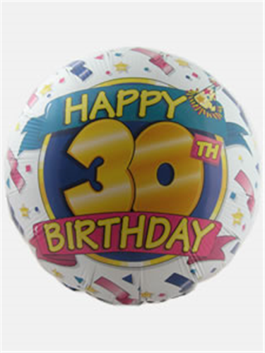 Happy 30th Birthday Helium Balloon Gift