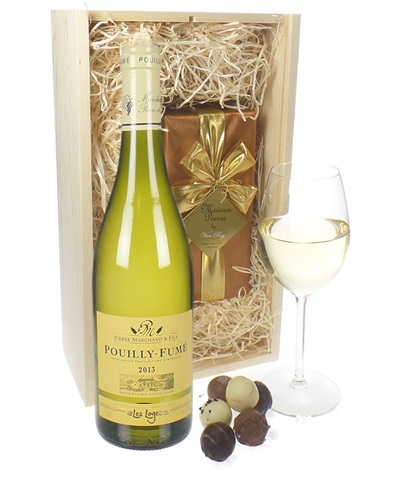 Pouilly Fume White Wine And Chocolates Gift Set in Wooden Box
