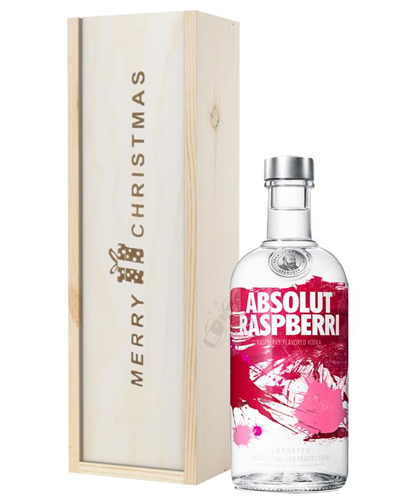Absolut Raspberry Vodka Christmas Gift In Wooden Box
