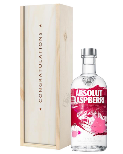 Absolut Raspberry Vodka Congratulations Gift In Wooden Box