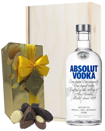 Absolut Vodka And Chocolates Gift Set in Wooden Box