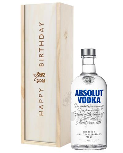 Absolut Vodka Birthday Gift In Wooden Box