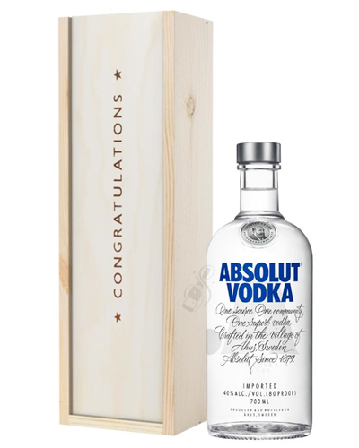 Absolut Vodka Congratulations Gift In Wooden Box