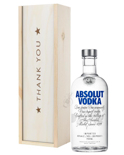Absolut Vodka Thank You Gift In Wooden Box
