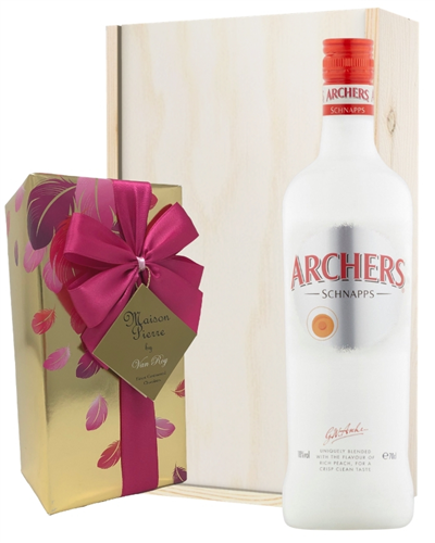 Archers Peach Schnapps And Chocolates Gift Set