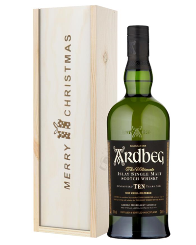 Ardbeg 10 Year Old Single Malt Whisky Christmas Gift In Wooden Box