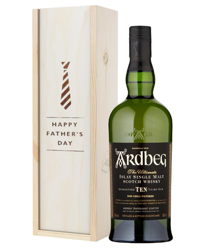 Ardbeg 10 Year Old Single Malt Whisky Fathers Day Gift In Wooden Box