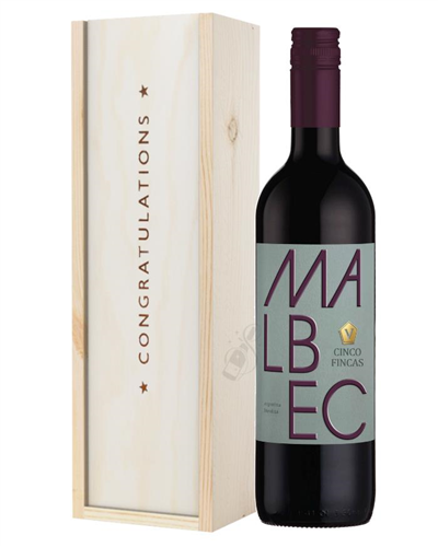 Argentinian Malbec Red Wine Congratulations Gift In Wooden Box