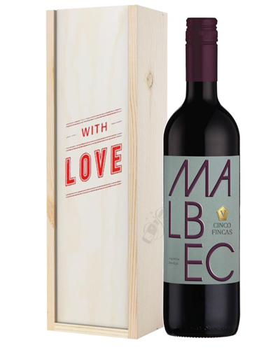 Argentinian Malbec Red Wine Valentines With Love Special Gift Box